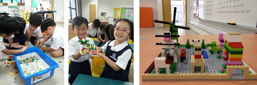 Students playing / building with Lego