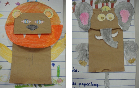 Students handiwork from 'How To Make An Animal Paper Puppet'